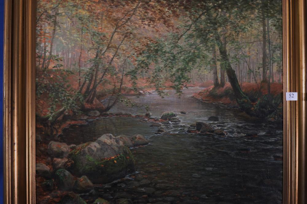 PETER BUSCH (DANISH, 1861-1942) STREAM IN A WOOD, OIL ON CANVAS, SIGNED LOWER LEFT, MEASURES 64CM X 75CM