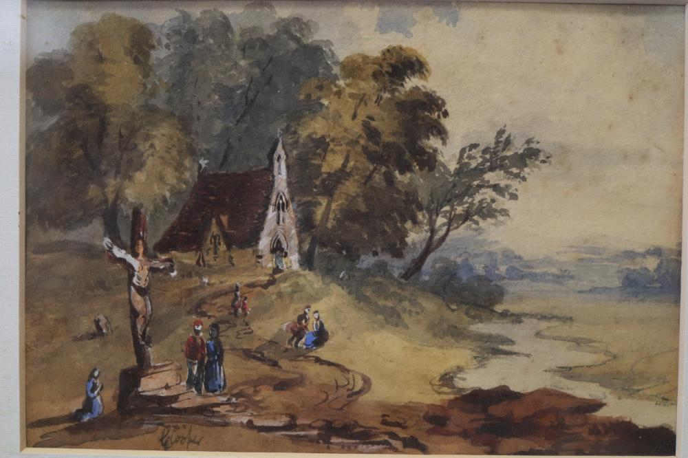 G COOPER, CRUCIFICTION, WATERCOLOUR, SIGNED LOWER LEFT, MEASURES 11.5CM BY 16.5CM, ON REVERSE HAND WRITTEN GEORGE COOPER,