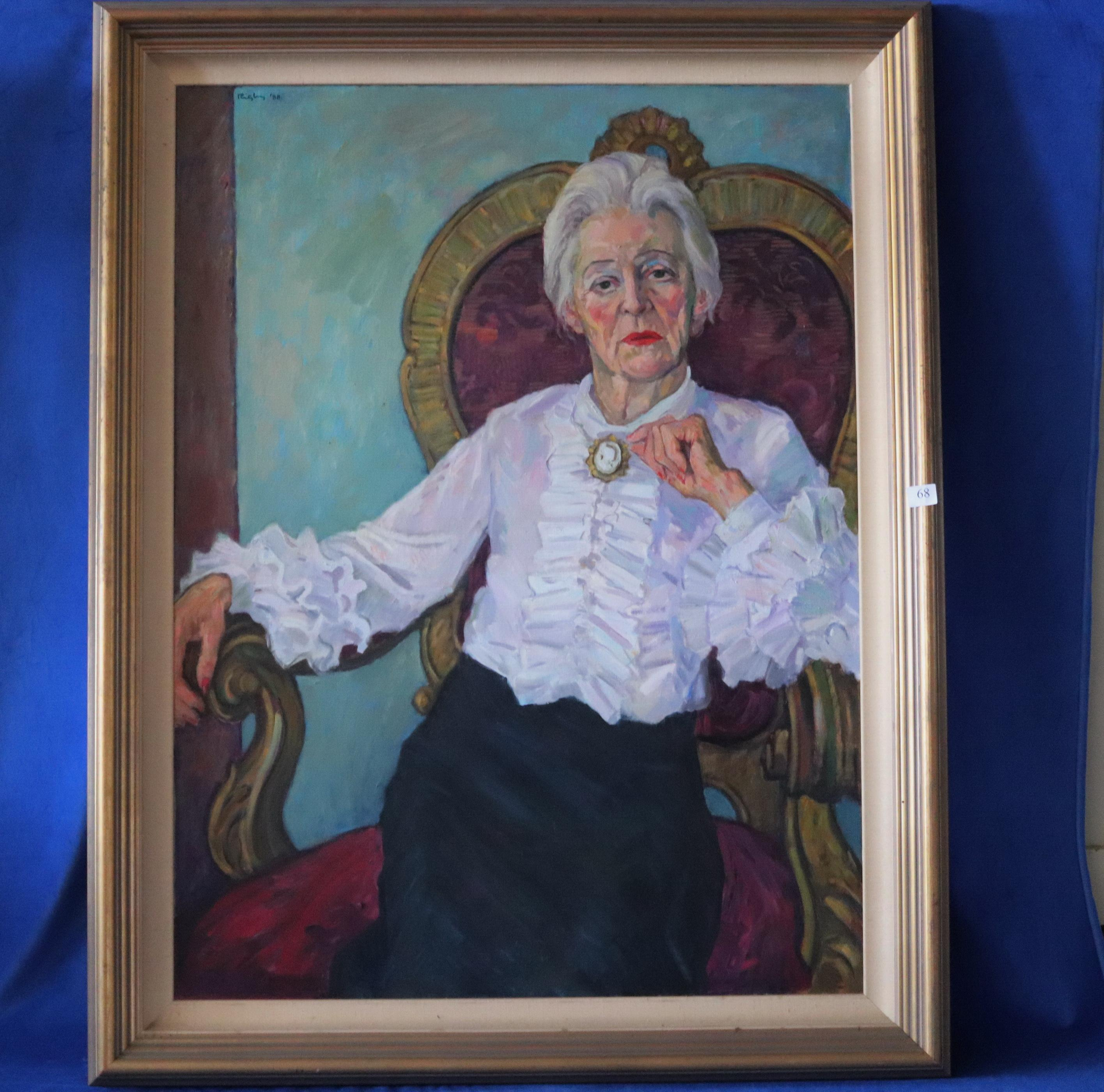 JOHN RIGBY (AUST,1922-2012) PORTRAIT OF CECELIA MCNALLY, OIL ON CANVAS, SIGNED AND DATED '88 UPPER LEFT, MEASURES 111CM X 82CM