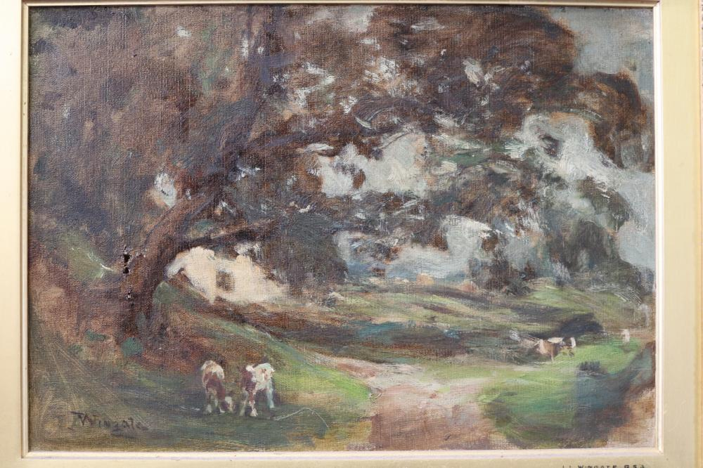 JAMES LAWTON WINGATE RSA (SCOTTISH, 1846-1924) PASTORAL SCENE WITH CATTLE, OIL ON CANVAS SIGNED LOWER LEFT, MEASURES 25CM X 35CM (MINOR DAMAGE)