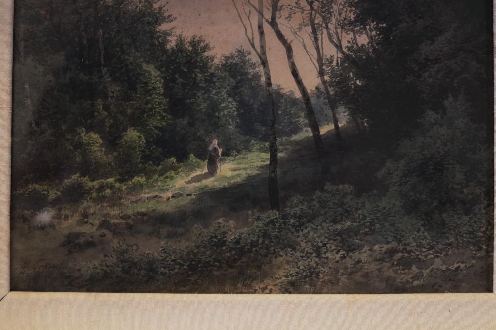 ARTIST UNKNOWN, LADY IN THE WOODS, WATERCOLOUR ON PAPER, SIGNED INDISTINCTLY LOWER LEFT, MEASURES, 15CM X 24CM