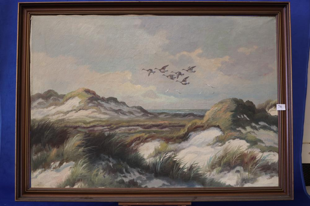 KONGSLER, DUCKS IN FLIGHT (THE BEACH AT DUNKIRK) OIL ON CANVAS, SIGNED LOWER RIGHT, MEASURES 70CM X 100CM