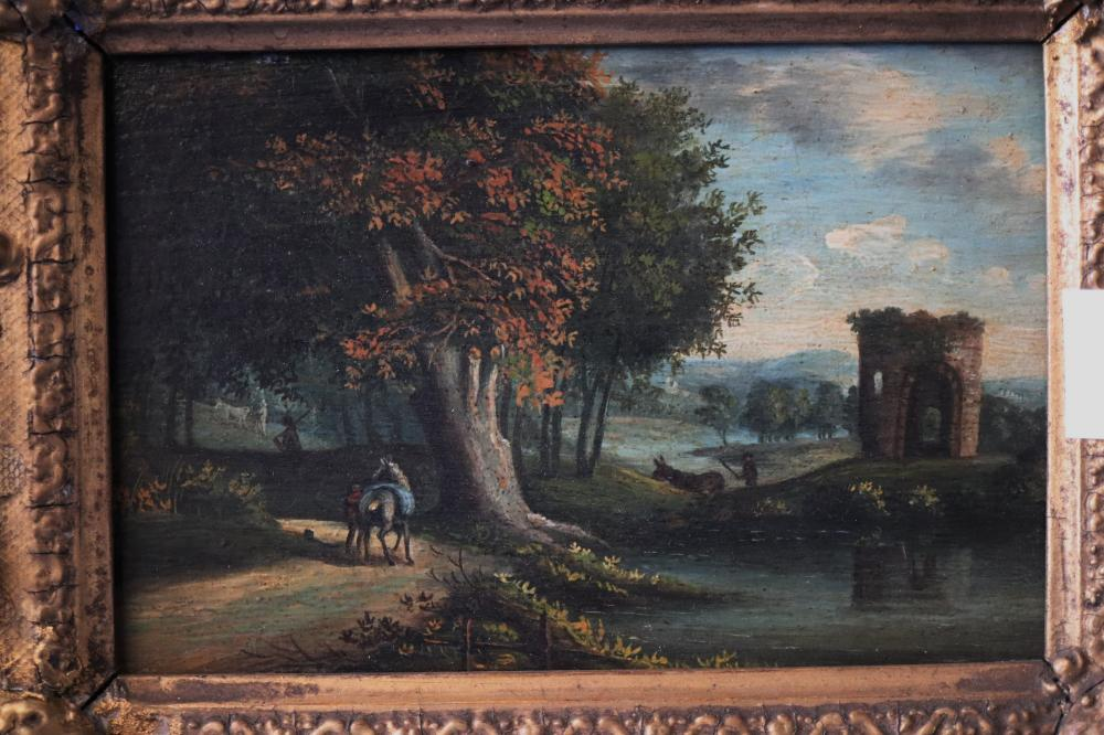 ARTIST UNKNOWN, (LATE 18TH/EARLY 19TH CENTURY) CASTLE RUIN WITH SHEPHERDS, OIL ON WOOD PANEL, MEASURES 10CM X 16CM
