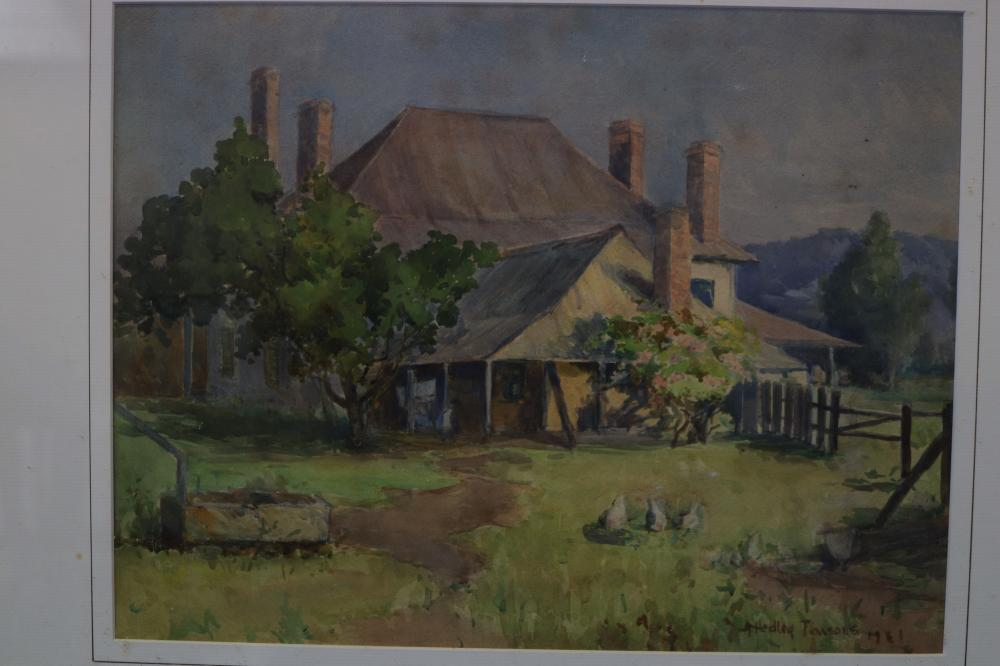HEDLEY PARSONS (AUSTRALIAN, 1879-1960) COUNTRY HOUSE, WATERCOLOUR ON PAPER, SIGNED AND DATED LOWER RIGHT, MEASURES 32.5CM X 43CM