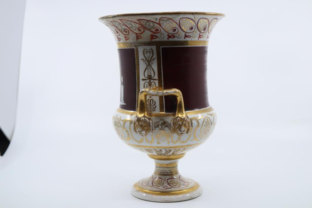 2 ITEMS, VICTORIAN FLORAL HAND PAINTED VASE 230MM HIGH (MINOR CHIPS) & A CLASSICAL SCENE KRATER SHAPED VASE, 200MM HIGH, EXTENSIVE DAMAGE AND REPAIRS