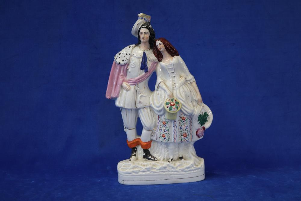 2 X 19TH CENTURY LARGE STAFFORDSHIRE FIGURES RUTH, 380MM HIGH, CRACK TO GLAZE ON SIDE AND HEAVILY CRAZED & FLAT BACK NOBLE MAN AND LADY, 400MM HIGH, HAIRLINE CRACKS, CHIP TO HAT AND PAINT WEAR