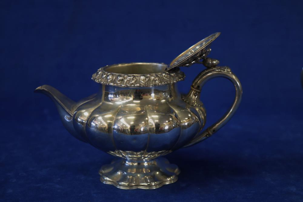 2 X VICTORIAN SILVER PLATED TEA POTS SQUAT IS 120MM HIGH AND THISTLE IS 170MM HIGH