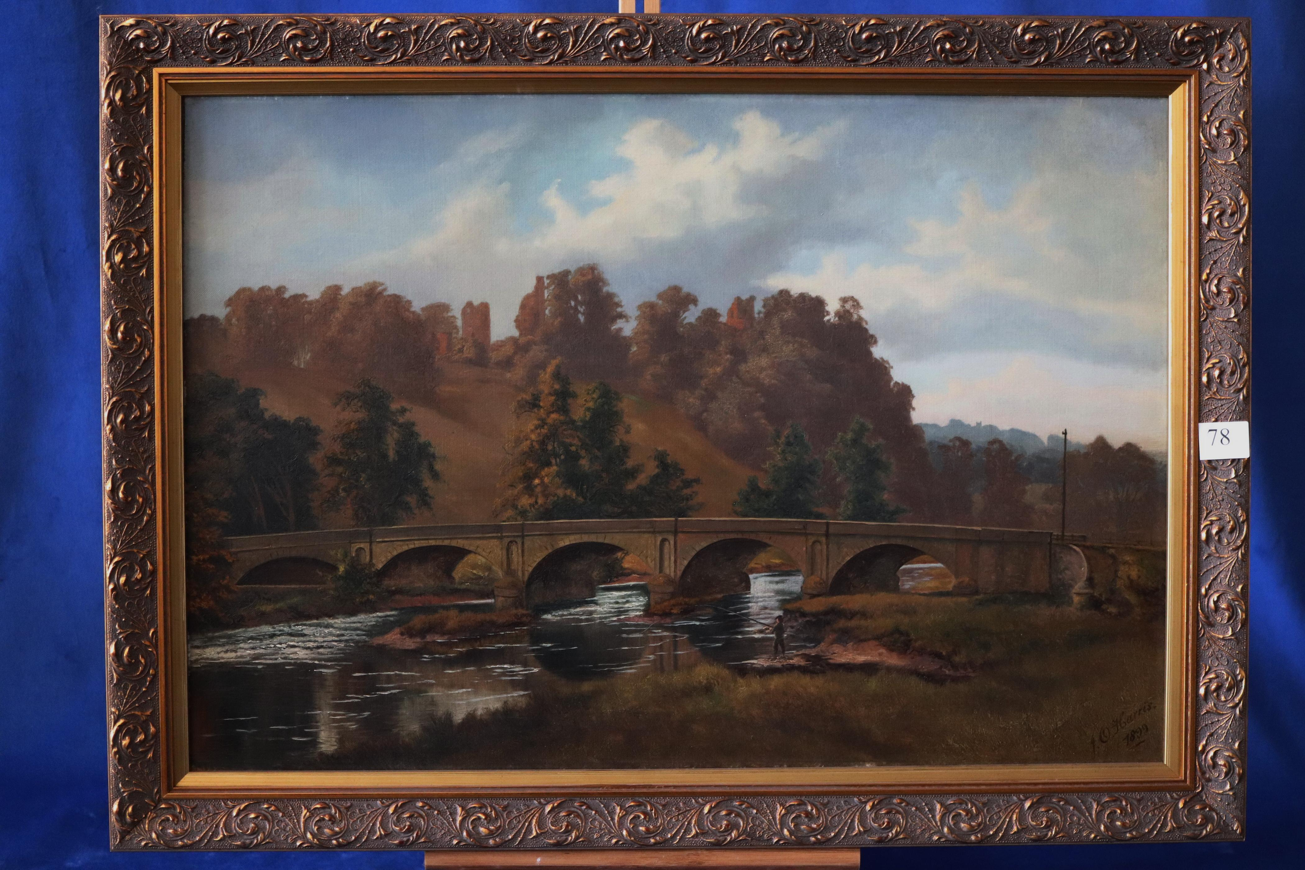 J.O HARRIS, FISHERMAN, OIL ON CANVAS, SIGNED LOWER RIGHT AND DATED 1899, OLD LABEL ON THE REVERSE, TUTBURY BRIDGE, MEASURES 45CM X 65CM