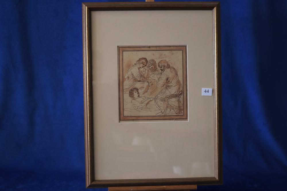 JAMES BASIRE (BRITISH 1730-1802 AFTER IL GUERCINO) THREE FIGURES CONTEMPLATE A DEAD WOMEN, ETCHING, INSCRIBED IN PLATE WITH IL GUERCINO DA CENTO DEL, LOWER RIGHT, SIGNED IN PLATE LOWER LEFT, MEASURES 21CM X 19CM