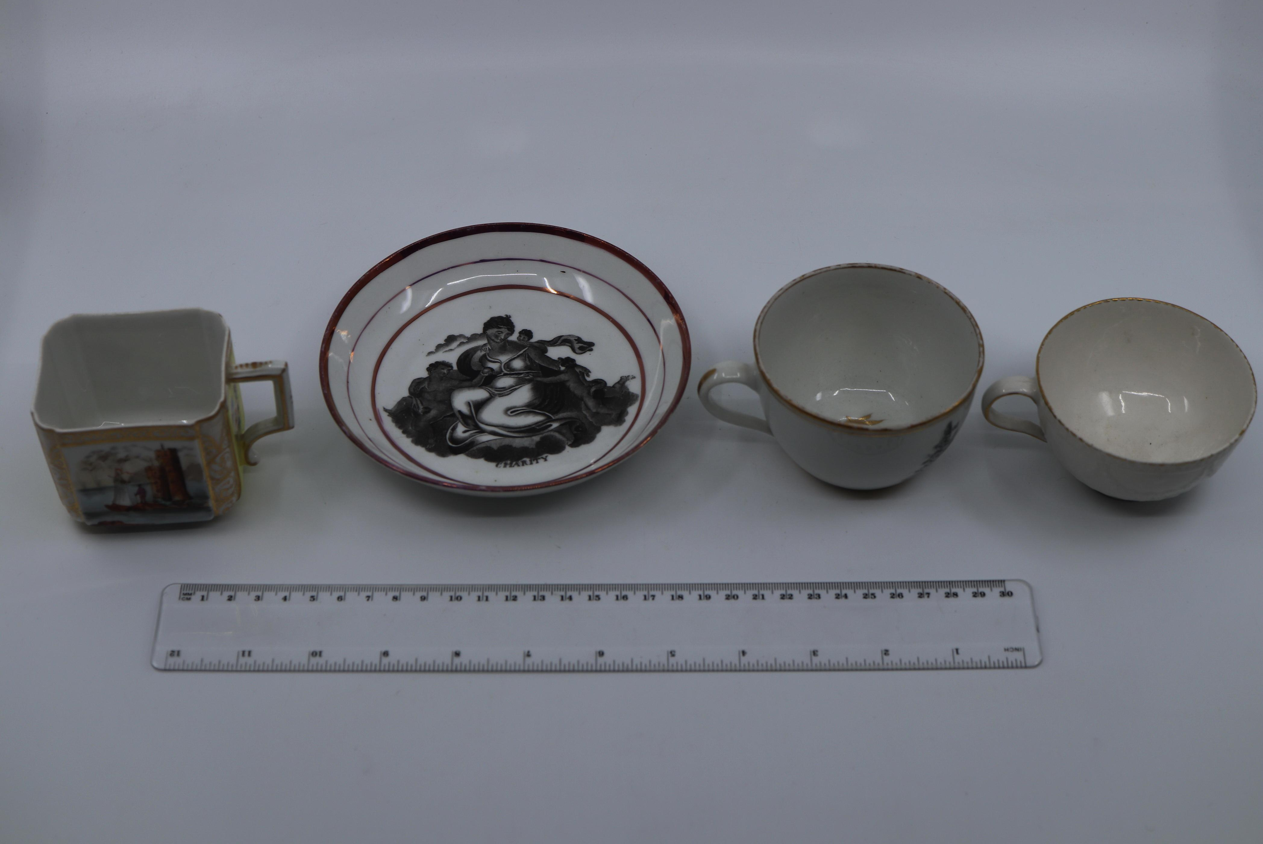 4 X EARLY 19TH CENTURY ENGLISH PORCELAIN ITEMS INCLUDING CHARITY SAUCER, WHITE RELIEF CUP WITH GOLD RIM, 2 HAND PAINTED PERIOD TEA CUPS