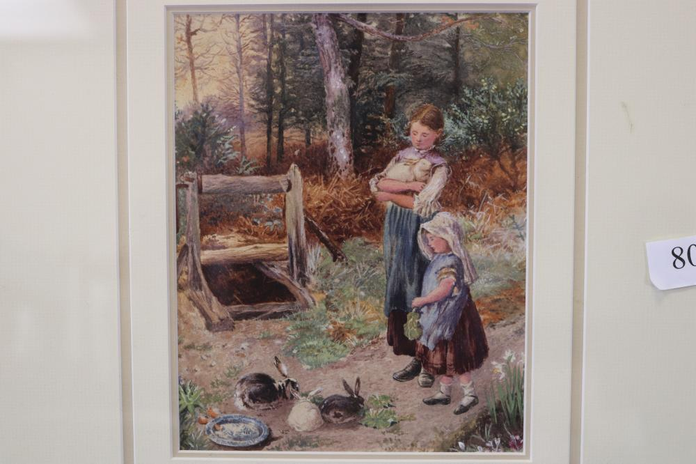 AFTER MILES BIRKETT FOSTER, FARM GIRLS, WATERCOLOUR ON PAPER, SIGNED WITH MONOGRAM LOWER LEFT, MEASURES 21.5CM X 17CM