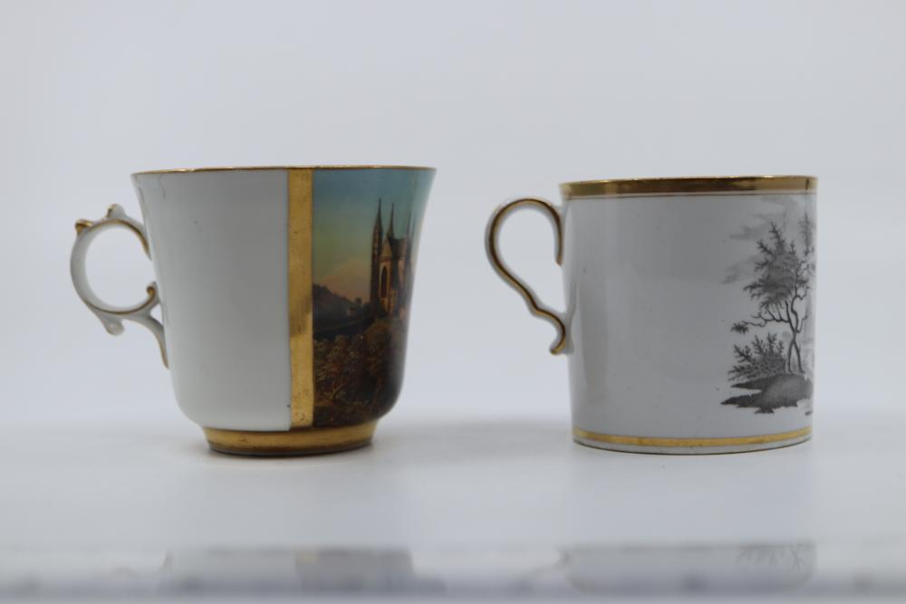 5 X ASSORTED ANTIQUE HAND PAINTED TEA CUPS