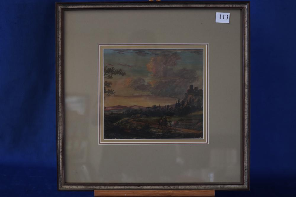 ARTIST UNKNOWN, ALONG THE TRACK TO THE CASTLE, WATERCOLOUR ON PAPER, 19TH CENTURY, MEASURES 23CM X 21.5CM, MINOR PAINT WEAR
