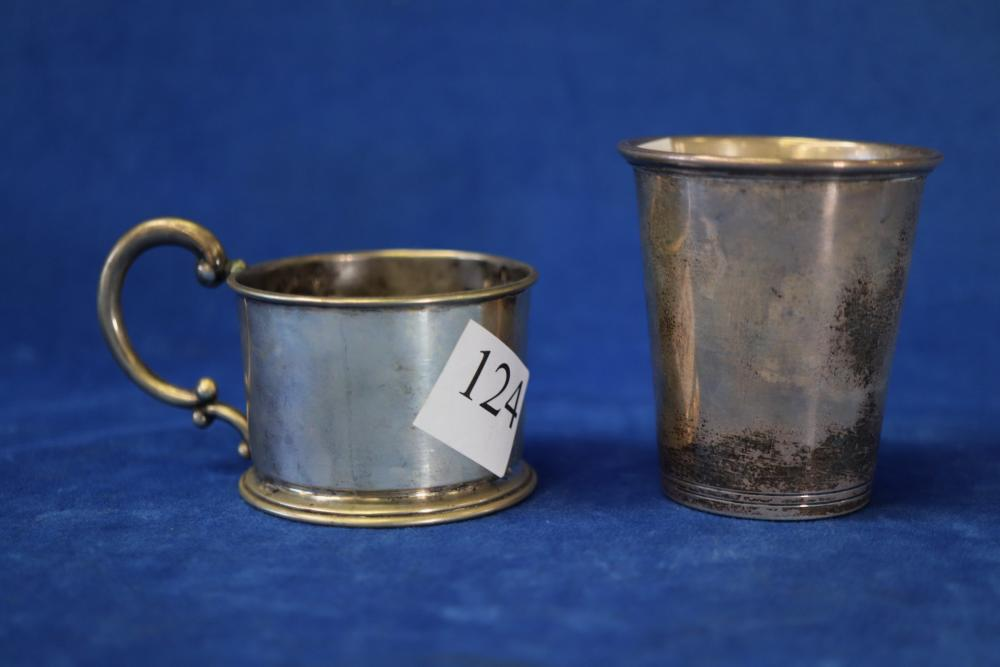 DANISH STERLING SILVER BEAKER AND MARKED 800 EUROPEAN SILVER CUP HOLDER (128 GRAMS TOTAL WEIGHT)