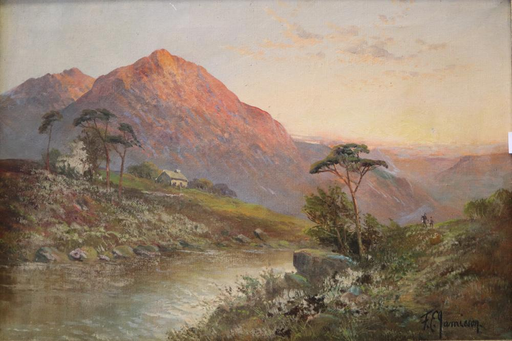 FRANCES E JAMIESON (BRITISH 1895-1950) COTTAGE IN THE MOUNTAIN, OIL ON CANVAS, SIGNED LOWER RIGHT, MEASURES 40CM X 60CM