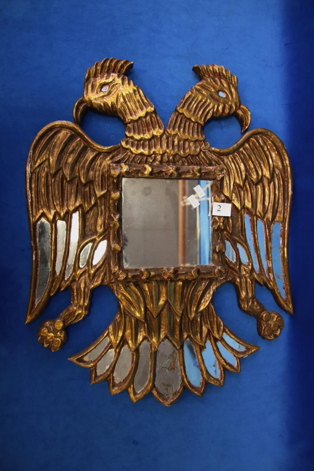 PERUVIAN CARVED GOLD AND MIRROR DOUBLE HEADED CONDOR MIRROR WITH FURTHER MIRROR INSERTS (MINOR DAMAGES TO MIRROR INSERTS)