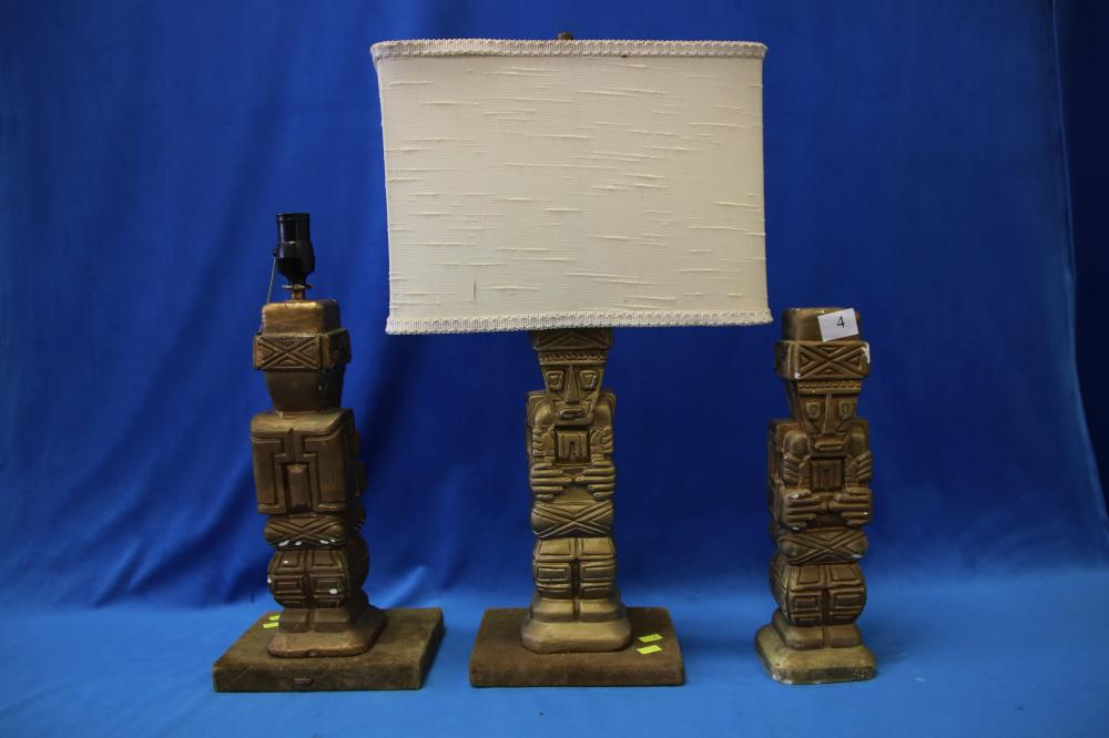 3 INCA STYLE PLASTER ORNAMENTS, GOLD PAINTED,-2 MADE INTO LAMPS (NOT TESTED)