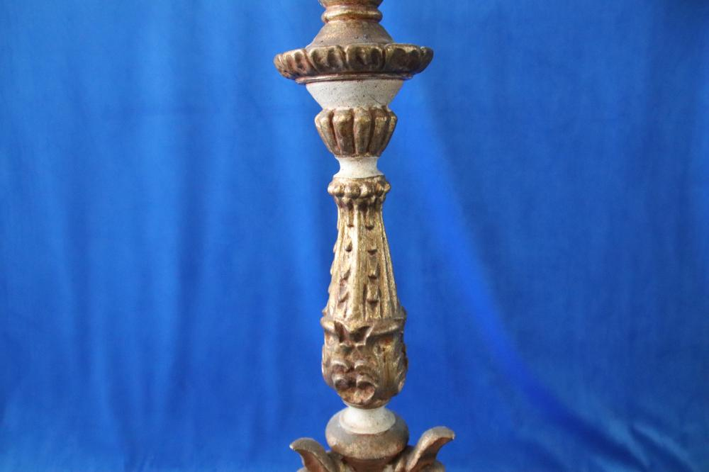 PERUVIAN CARVED WOODEN & PAINTED GOLD AND CREAM TORCHE/ BAPTISMAL FOND, H 100 CM