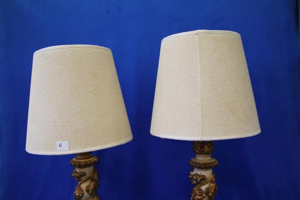 PAIR OF WOODEN BASED LAMPS WITH GOLD GRAPE DECORATIONS AND CREAM SHADES, 57 CM H, MINOR LOSSES