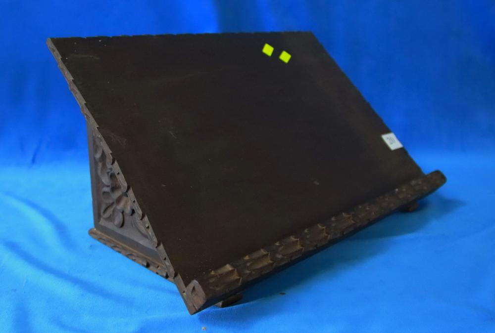 PERUVIAN TIMBER CARVED BOOK STAND