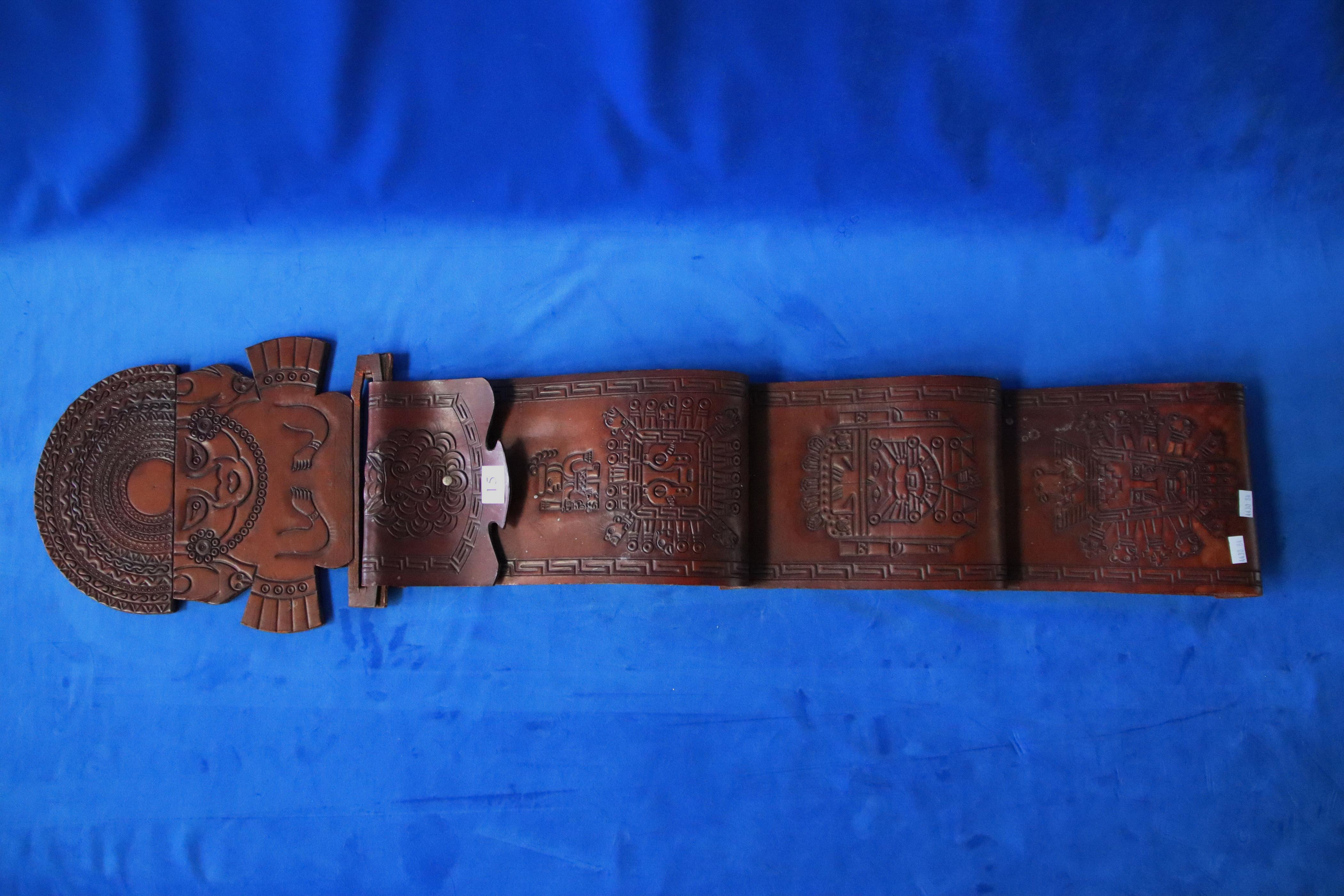 LEATHER WALL HANGING/SORTER WITH PERUVIAN MOTIFS