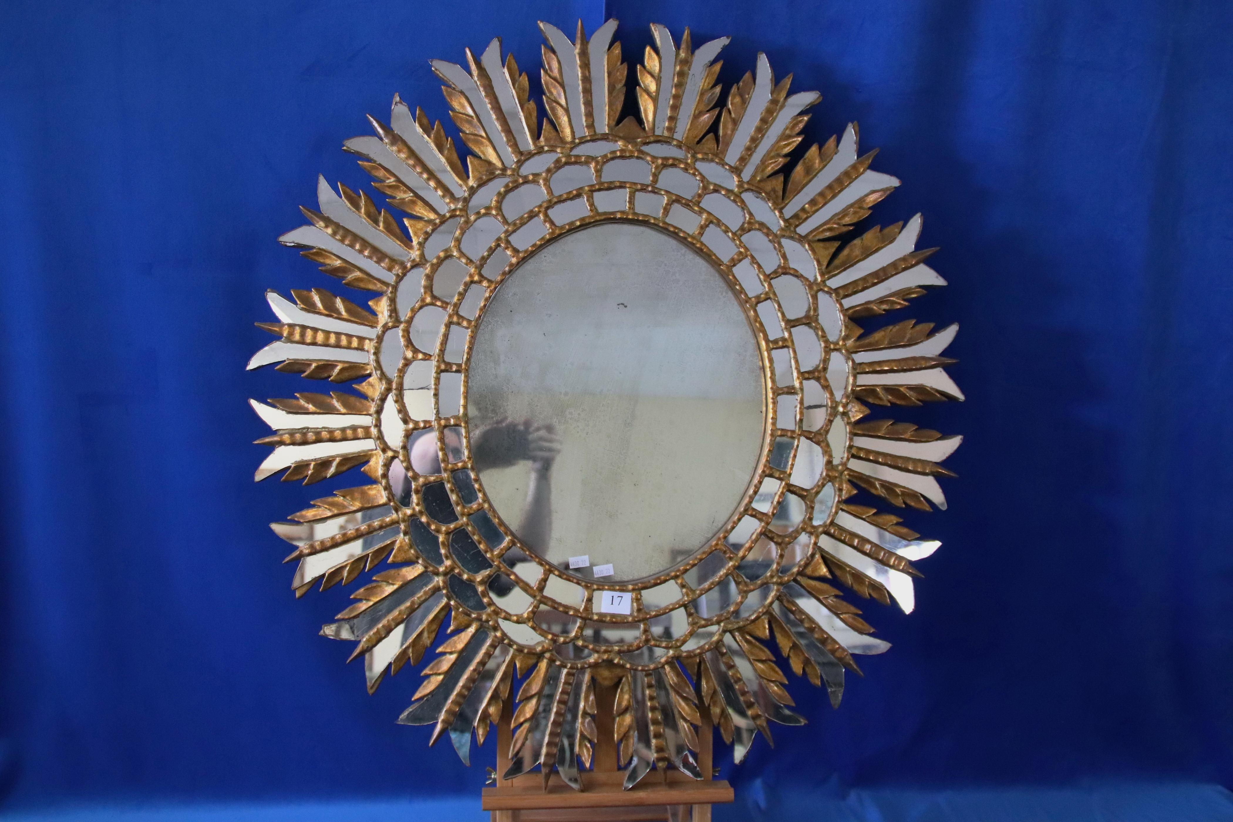 LARGE WOODNFRAMED GOLD CONCENTRIC MIRROR THE FLAME BURSTS QUILL LIKE, 85CM DIAM (SOME DAMAGE TO MIRROR PANELS)