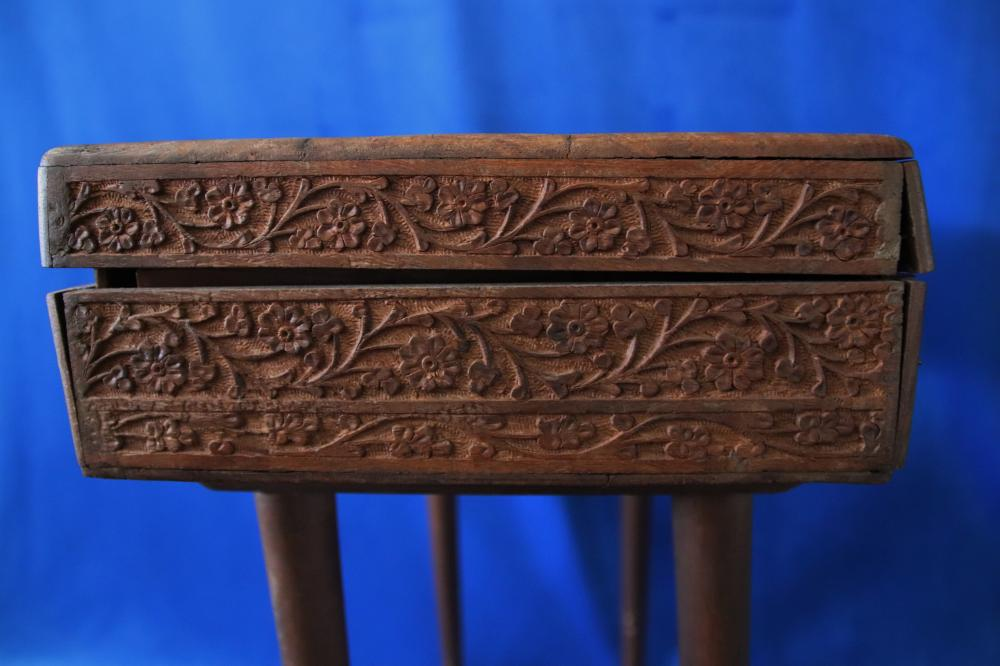 INDIAN CARVED AND BONE INLAID BOX, ON LATER ADDITIONAL LEGS