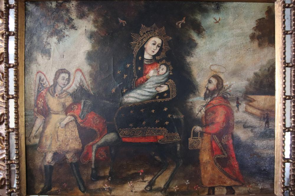 CUZCO SCHOOL, UNSIGNED, HOLY FAMILY FLIGHT TO EGYPT GUIDED BY AN ANGEL, OIL ON CANVAS, 41 X 64 CM IN CARVED GOLD AND MIRROR FRAME (MINOR DAMAGEDS