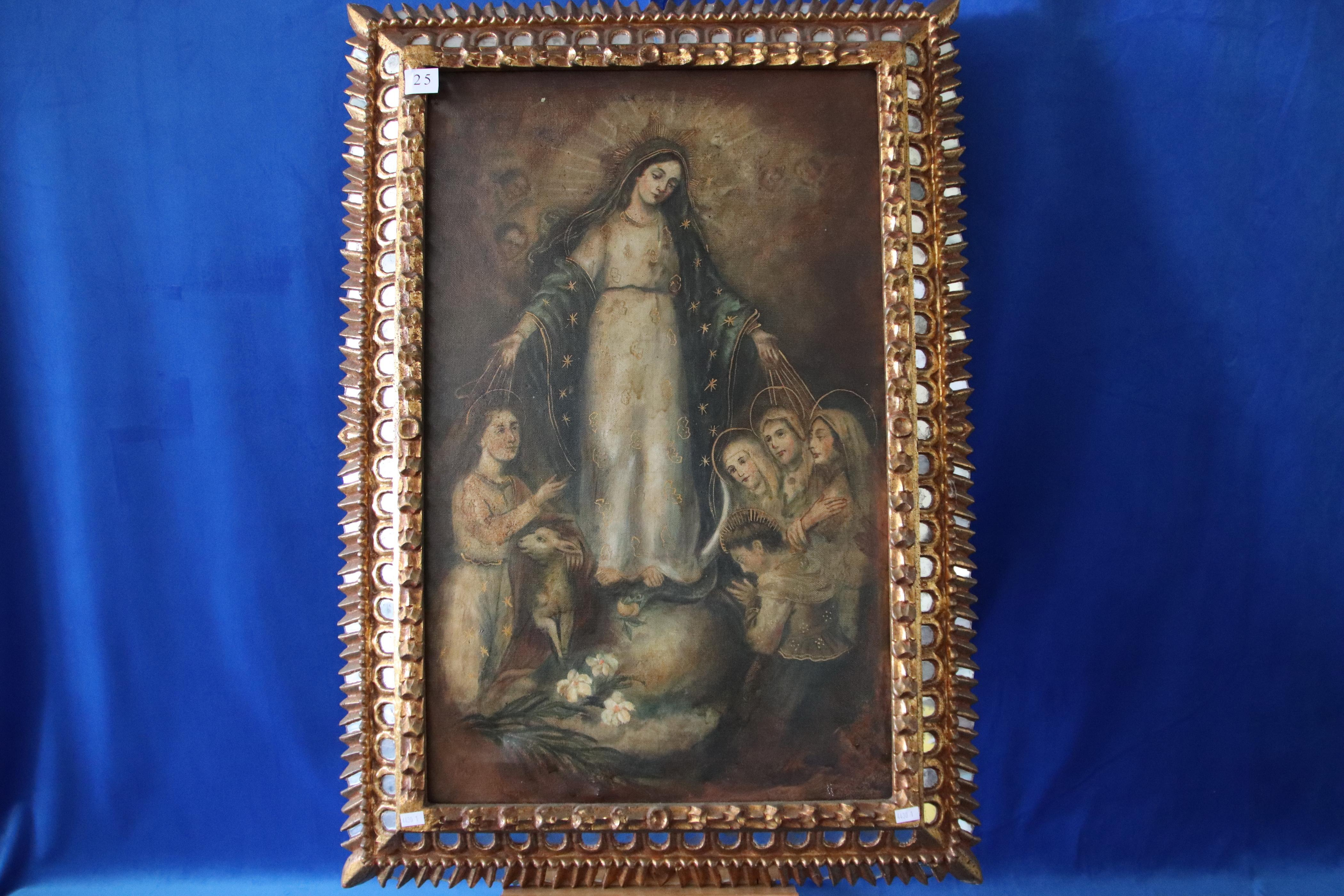 CUZCO SCHOOL, UNSIGNED, VIRGIN MARY SURROUND BY OTHER SAINTS INCL ST AGNES WITH LAMB, OIL ON CANVAS, 64 X 41 CM IN GOLD AND MIRROR FRAME (DAMAGES TO MIRROR)