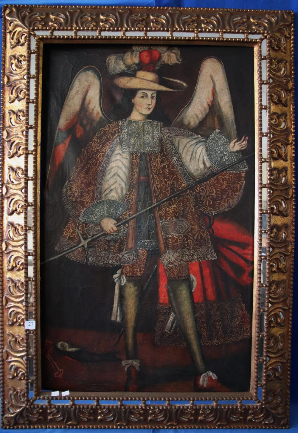 CUZCO SCHOOL, UNSIGNED, ANGEL DRESSED AS 17TH CENTURY CONQUISTADOR IN COURT DRESS, OIL ON CANVAS 113 X 35 FRAME 140 X93 CM IN CARVED GOLD AND MIRRORED FRAME (MINOR DAMAGES TO MIRROR)