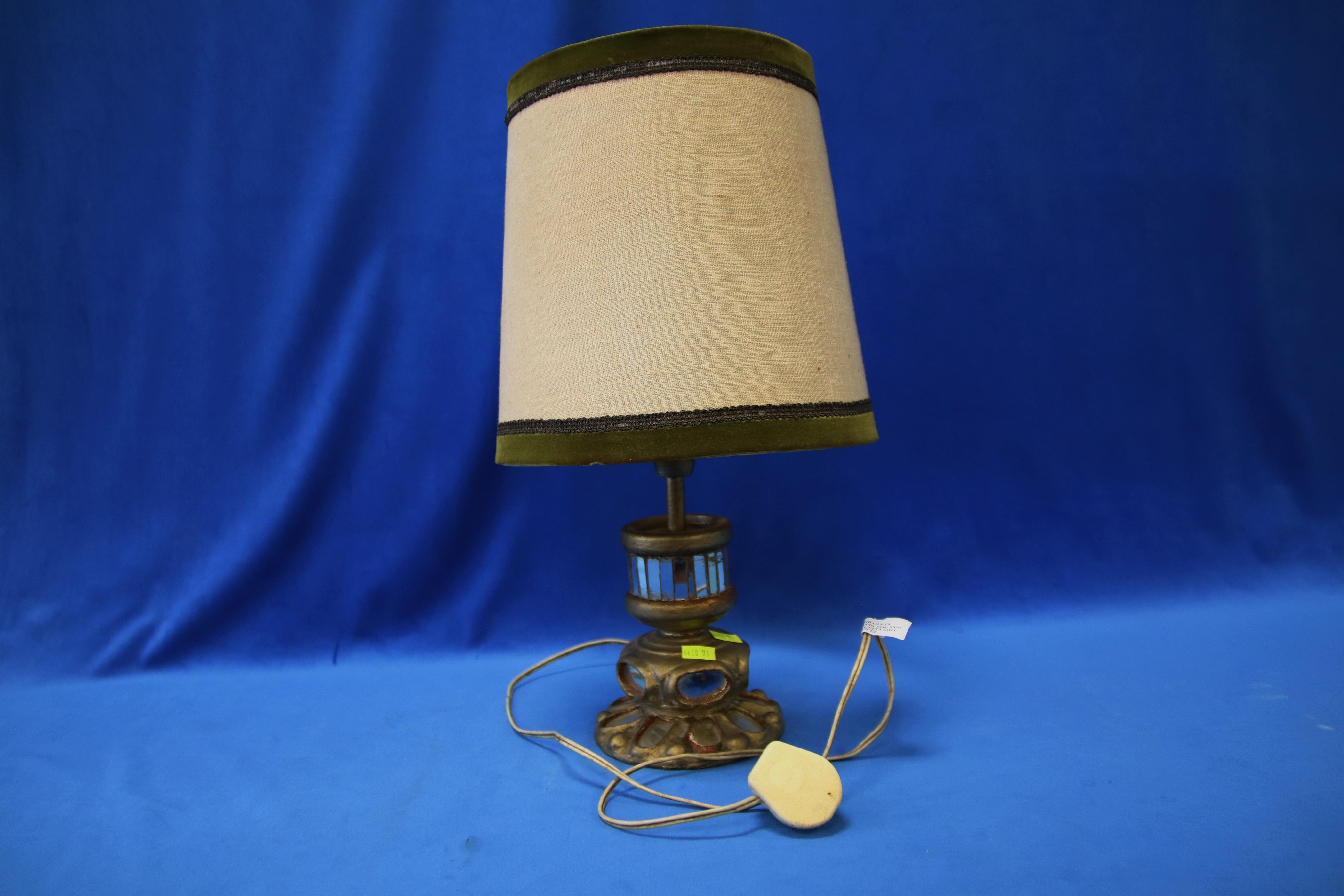 SMALL GOLD DECORATED WITH MIRROR INSERTS TABLE LAMP