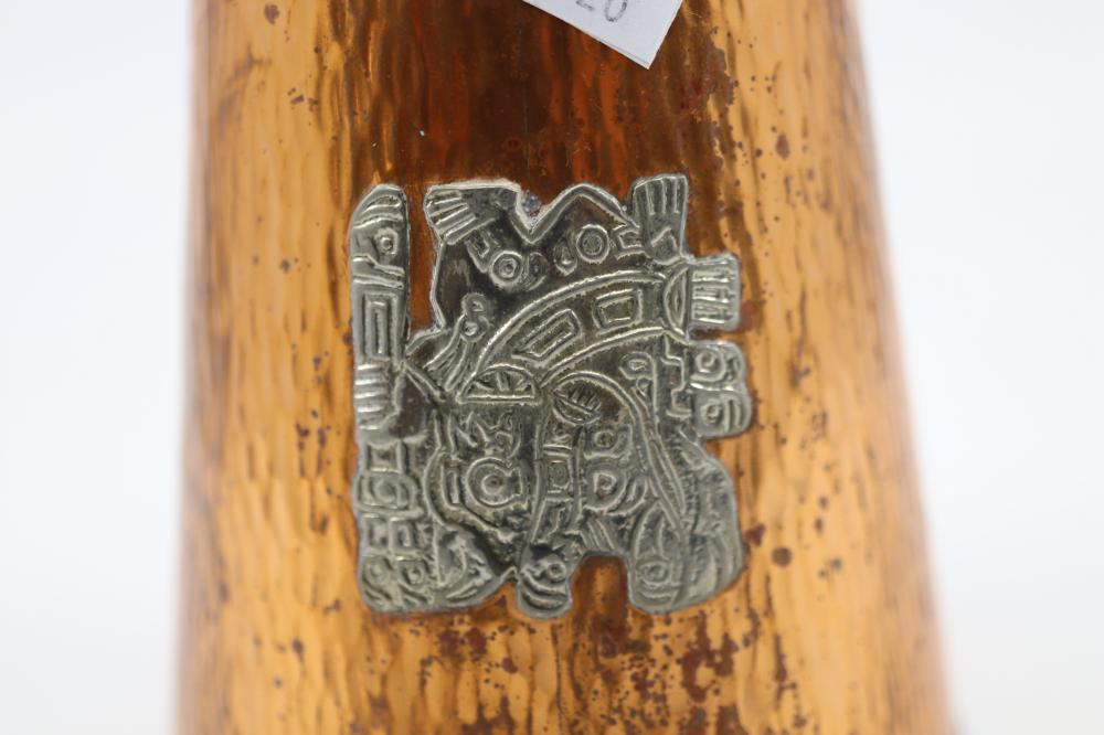 3 COPPER WARE ITEMS WITH APPLIED SILVER & PERUVIAN DECORATIONS