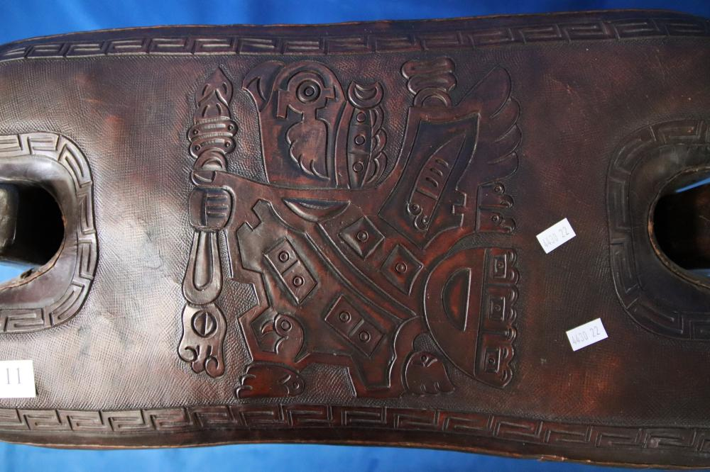 PERUVIAN SADDLE FORM SEAT WITH EMBOSSED LEATHER INCA MOTIF LEATHER CUSHION
