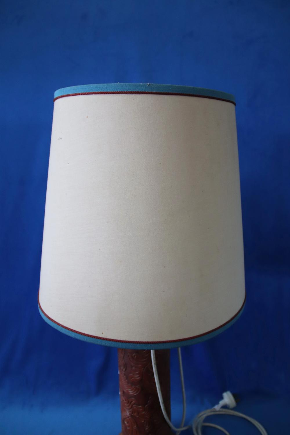 PAIR OF CYLINDER SHAPED LAMP BASES, WITH CARVED LEATHER COVERING, 41CM H (NOT TESTED)