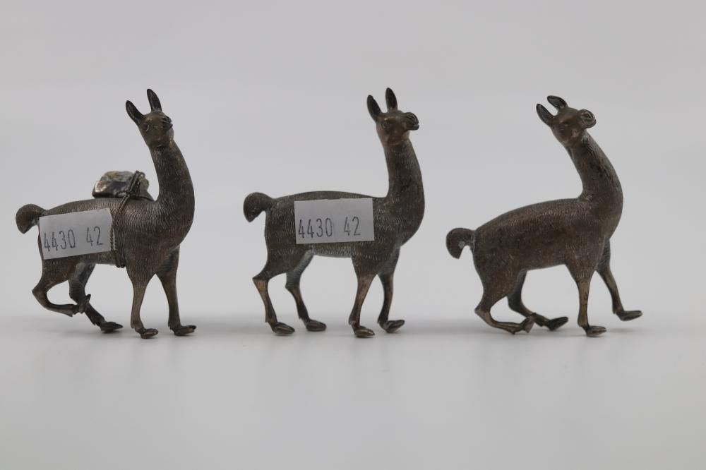 3 X SILVER ALPACA FIGURES, MARKED TO REAR OF NECK 900