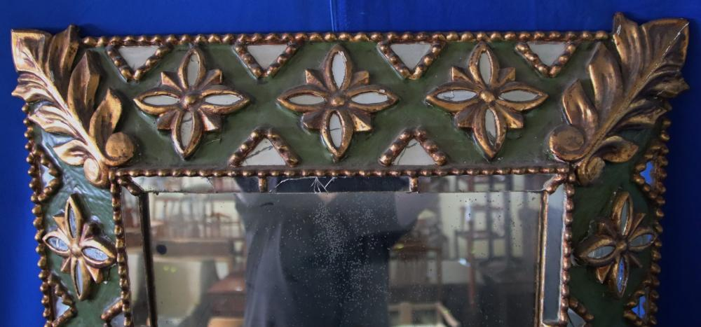 RECTANGULAR CARVED GOLD & GREEN MIRROR, APPLIED GOLD AND MIRROR FLOWERS (SOME DAMAGES) 88CM H X 66CM W FRAME, WEAR TO MIRROR