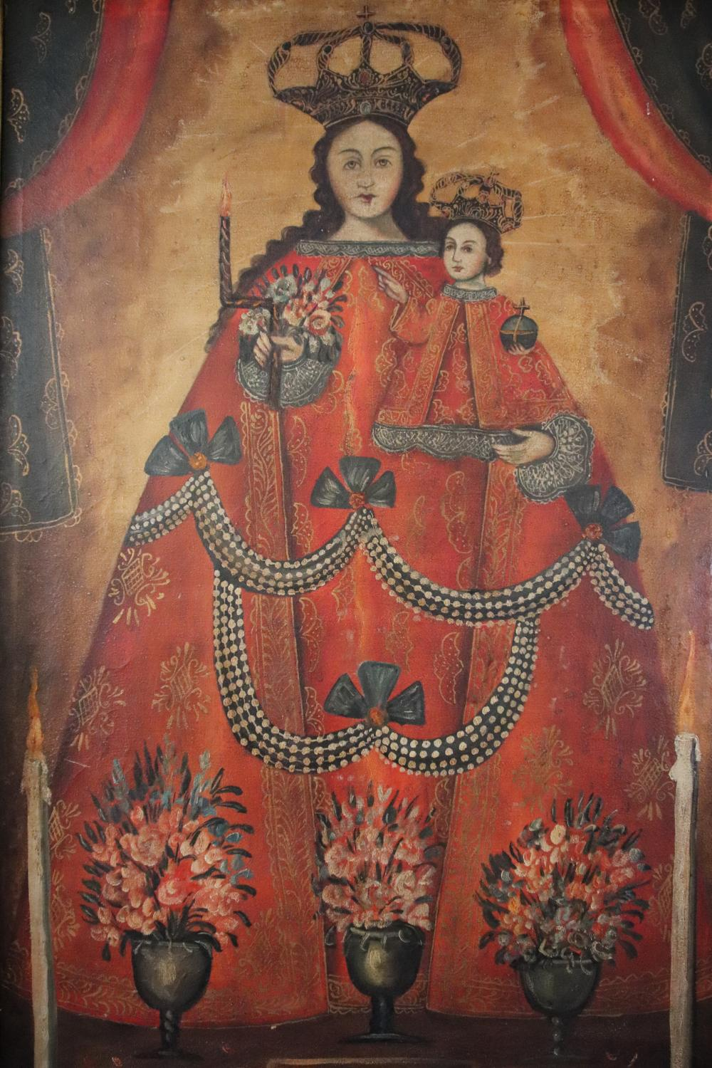 CUZCO SCHOOL, UNSIGNED VIRGIN MARY AND CHILD OUR LADY OF BELEN OIL ON CANVAS 113 X 68 FRAME 140 X 93 CM IN CARVED GILT AND MIRRORED FRAME (MINOR DAMAGES TO FRAME)