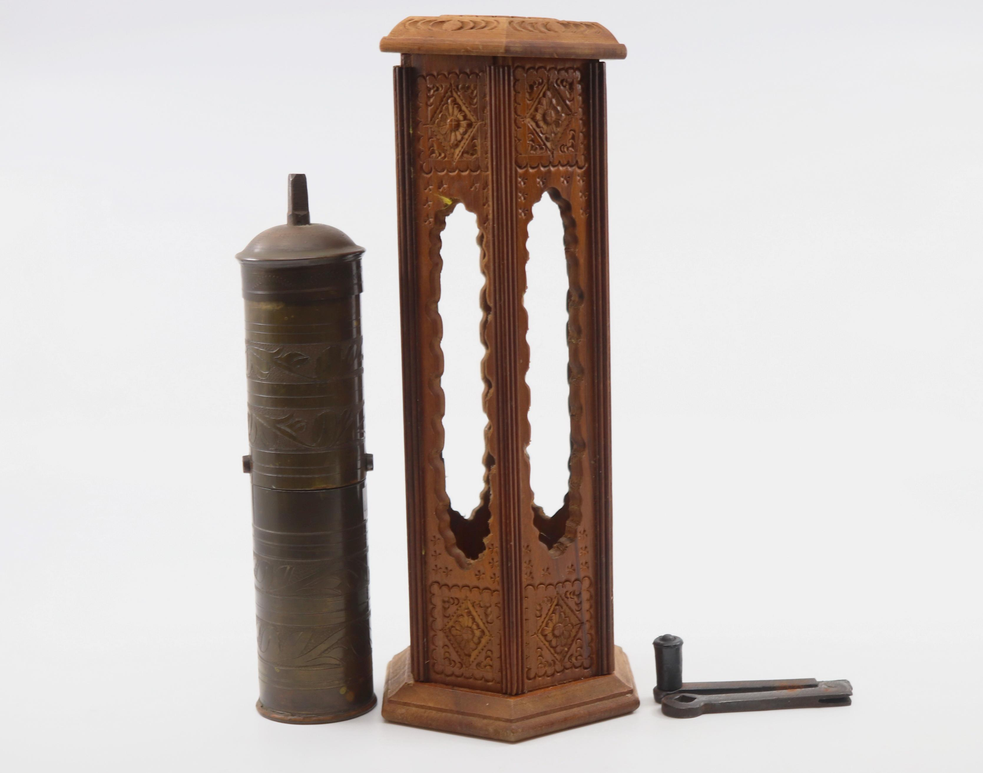 BRASS COFFEE GRINDER IN WOODEN CARVED CASE