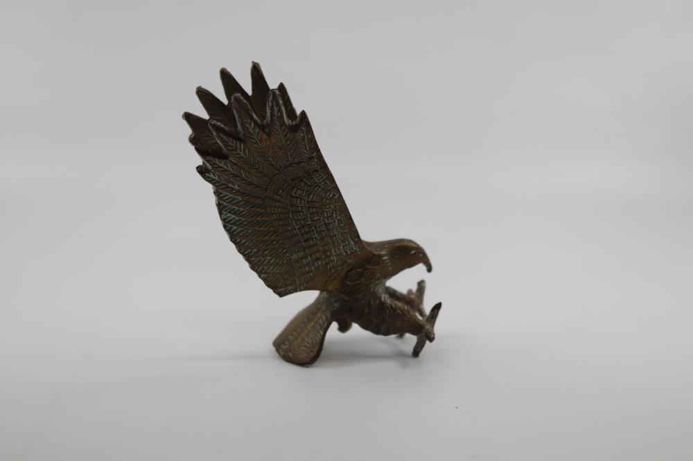 BRASS SCULPTURE OF AN EAGLE ABOUT TO STRIKE (A/F) & BRASS INCA MOTIF WALL MOUNTED DAGGER
