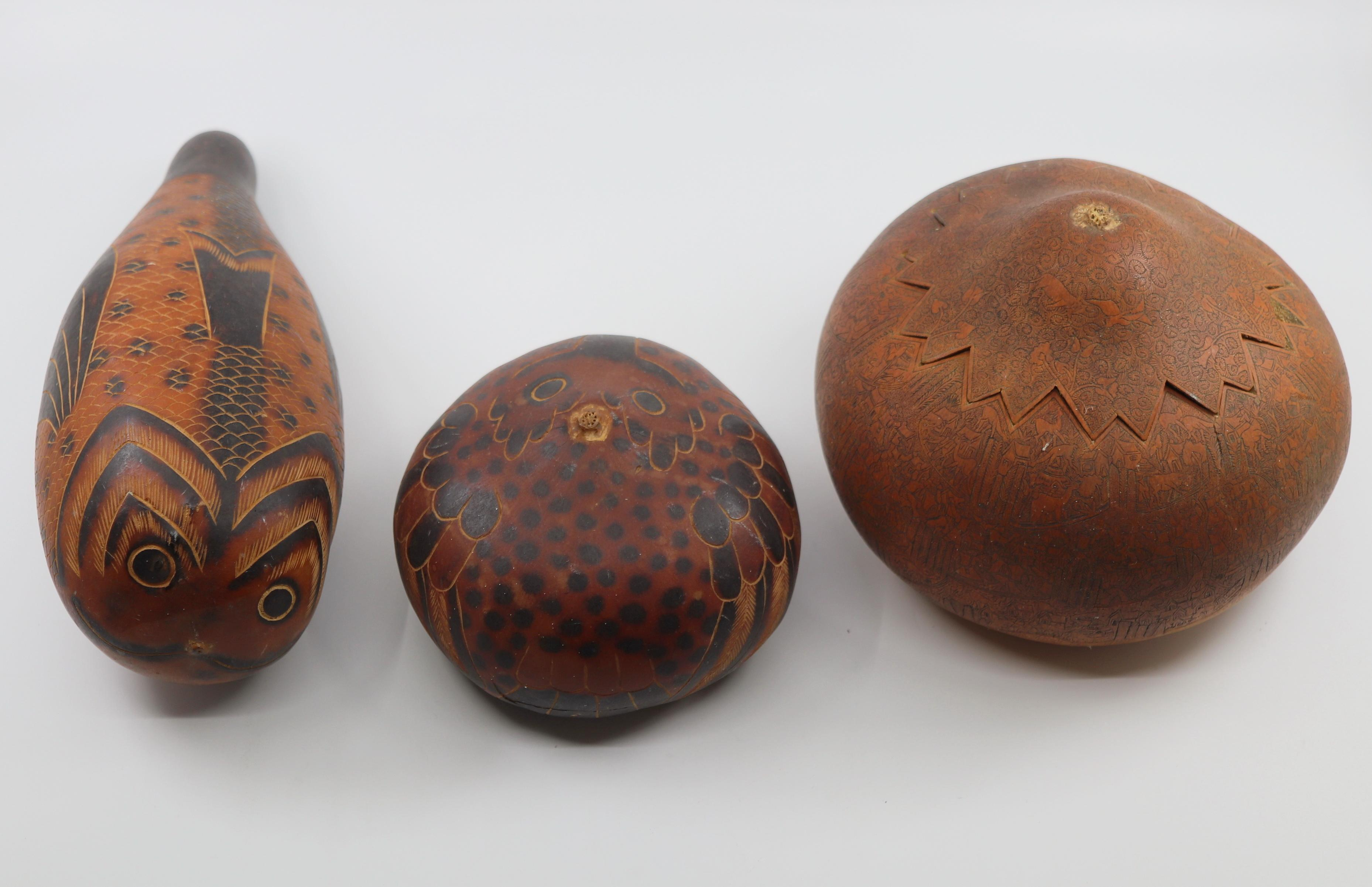 3 HAND CARVED & PAINTED WOODEN GOURD ORNAMENTS
