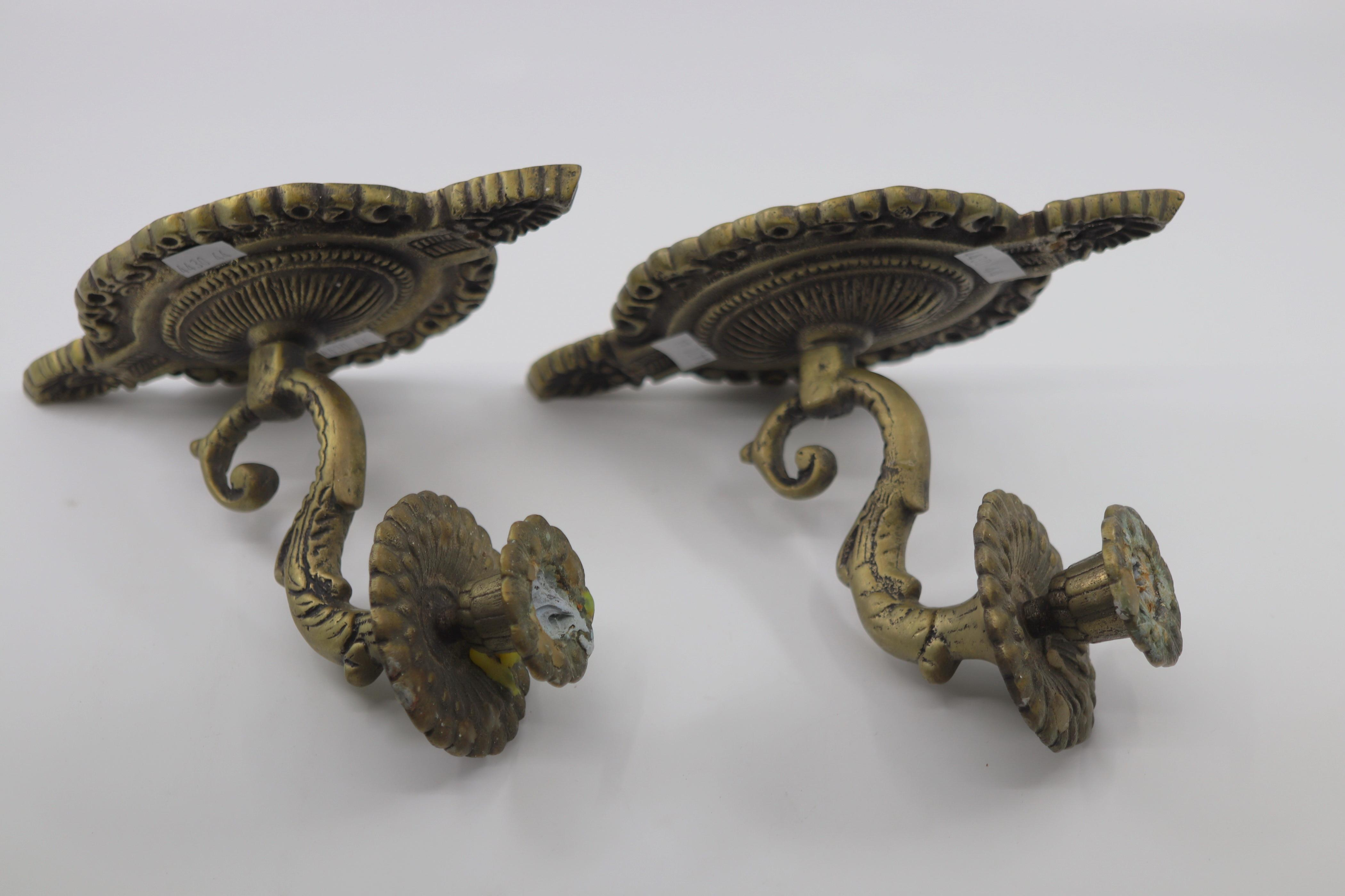 2 BRASS WALL CANDLE SCONCES