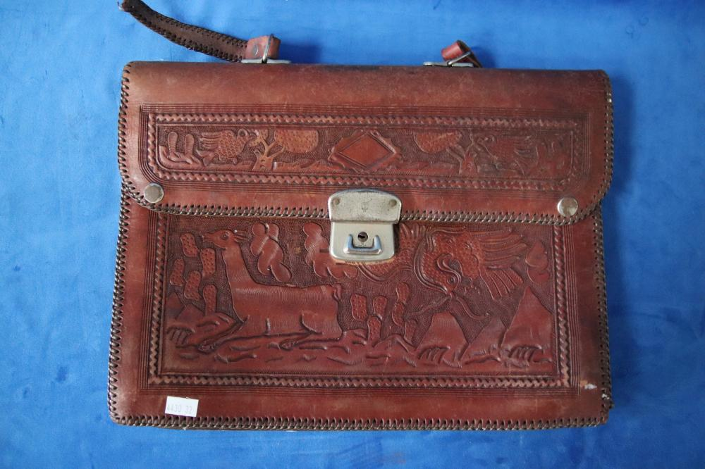 VARIOUS PERUVIAN MOTIF LEATHER EMBOSSED ITEMS INCL SATCHEL AS FOUND, BOOK COVER & PURSE