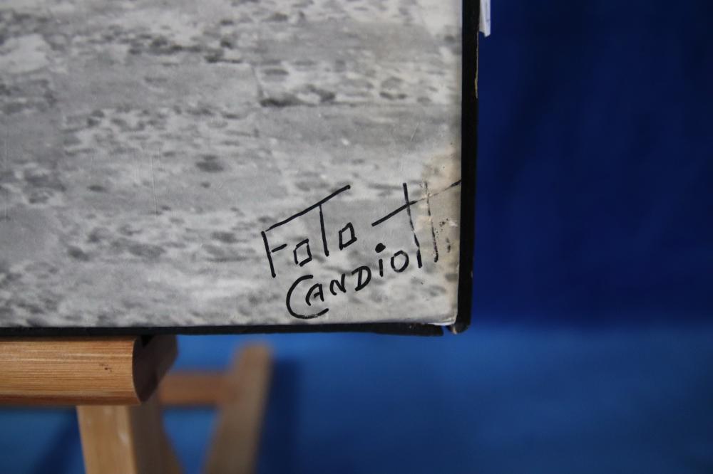 UNIDENTIFIED PERUVIAN COACH SCENE WATERCOLOUR ON CANVAS 40 X 78 CM SIGNED LOWER RIGHT ( CANVAS STRETCHER IS BROKEN) AND 2 FOTO CANDIOTTI PRINTS