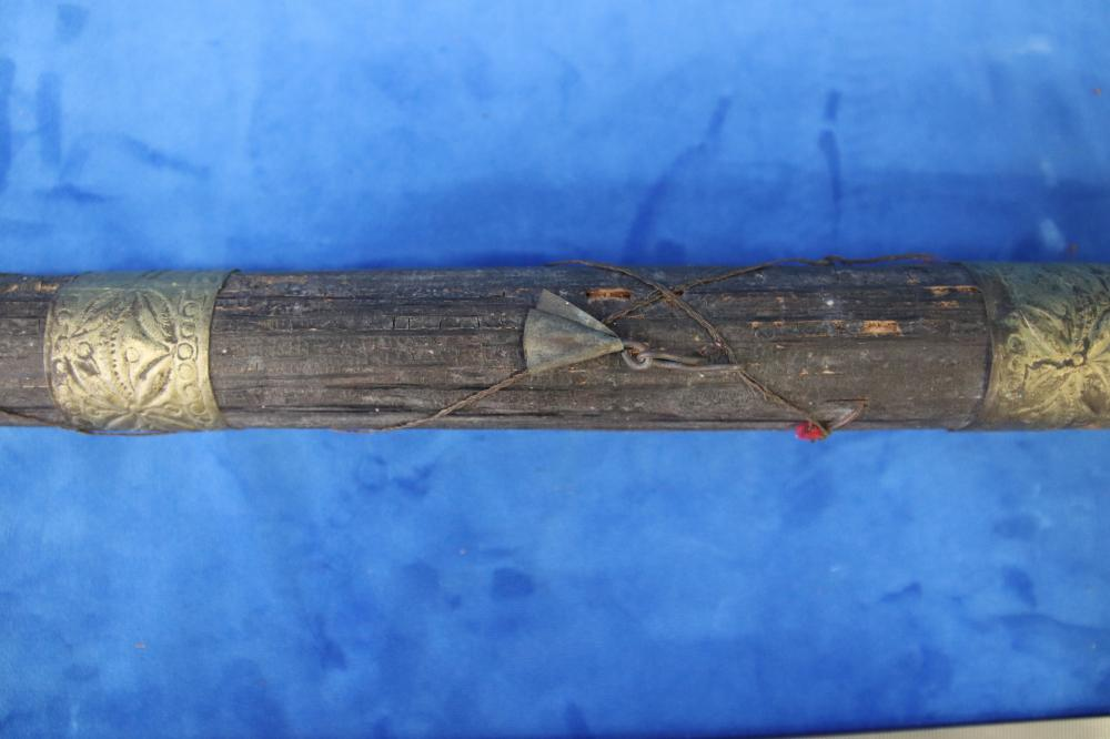 INTERESTING BRASS & WOOD WALKING STICK WITH CARVED WOOD SWAGGER STICK