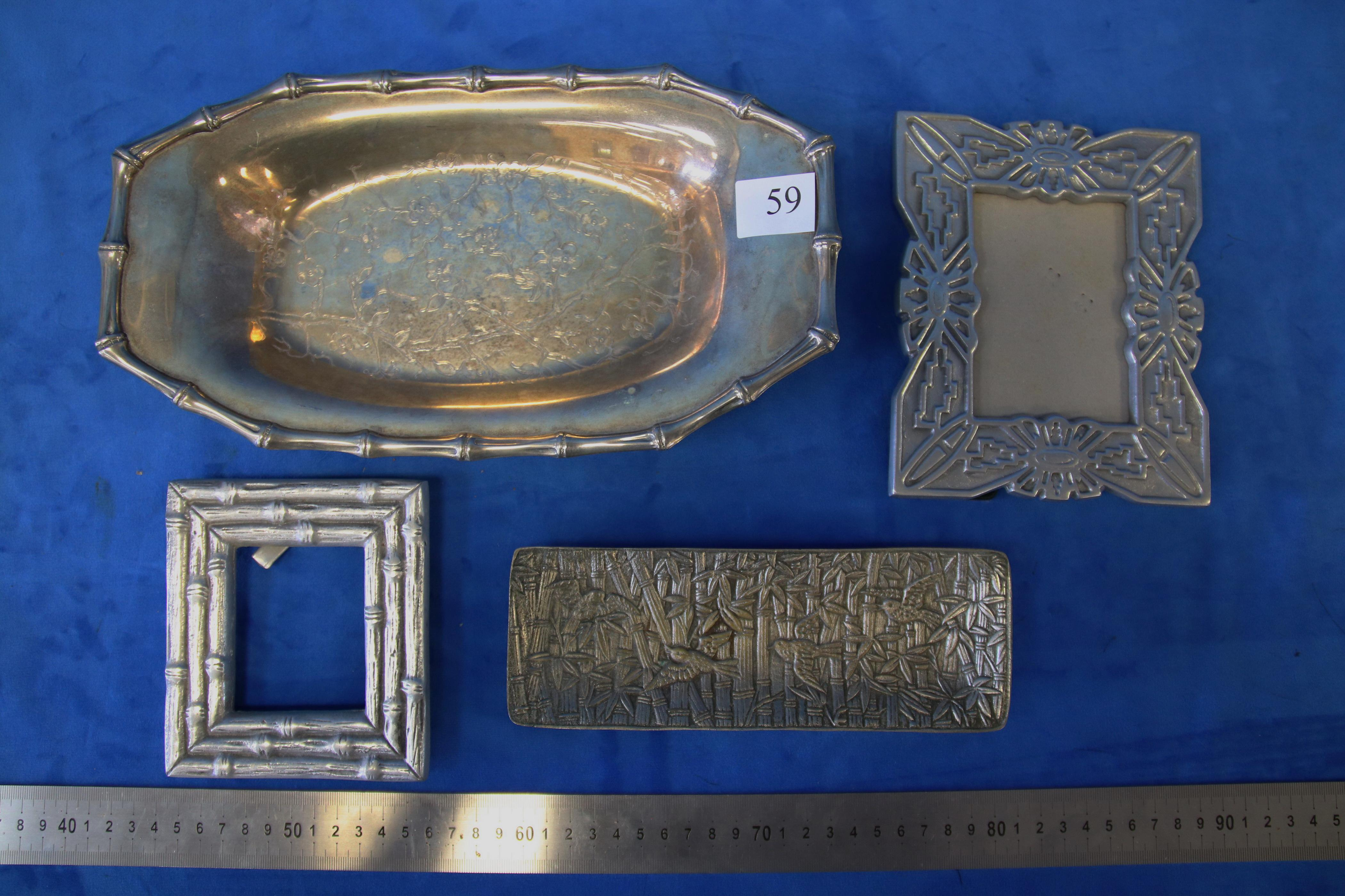QTY OF METAL ITEMS INC, 2 X PHOTO FRAMES, BAMBOO EDGED SILVER PLATED SERVING DISH, AND BAMBOO AND BIRD CAST THICKET