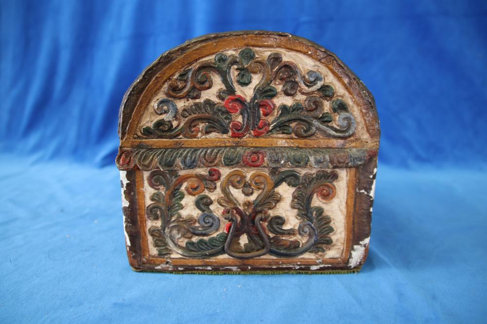 HAND PAINTED CARVED WOODEN DOME BOX, 30CM W X 22CM X 23CMH