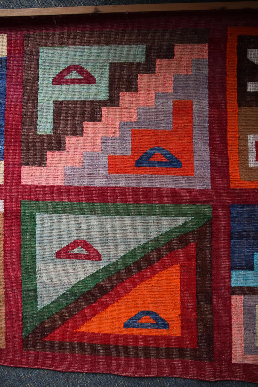 WALL HANGINGS, WOOL, TRADITIONAL SOUTH AMERICAN KILIM WEAVE WITH GEOMETRIC MOTIFS , MEASURES 140 X 210 CM