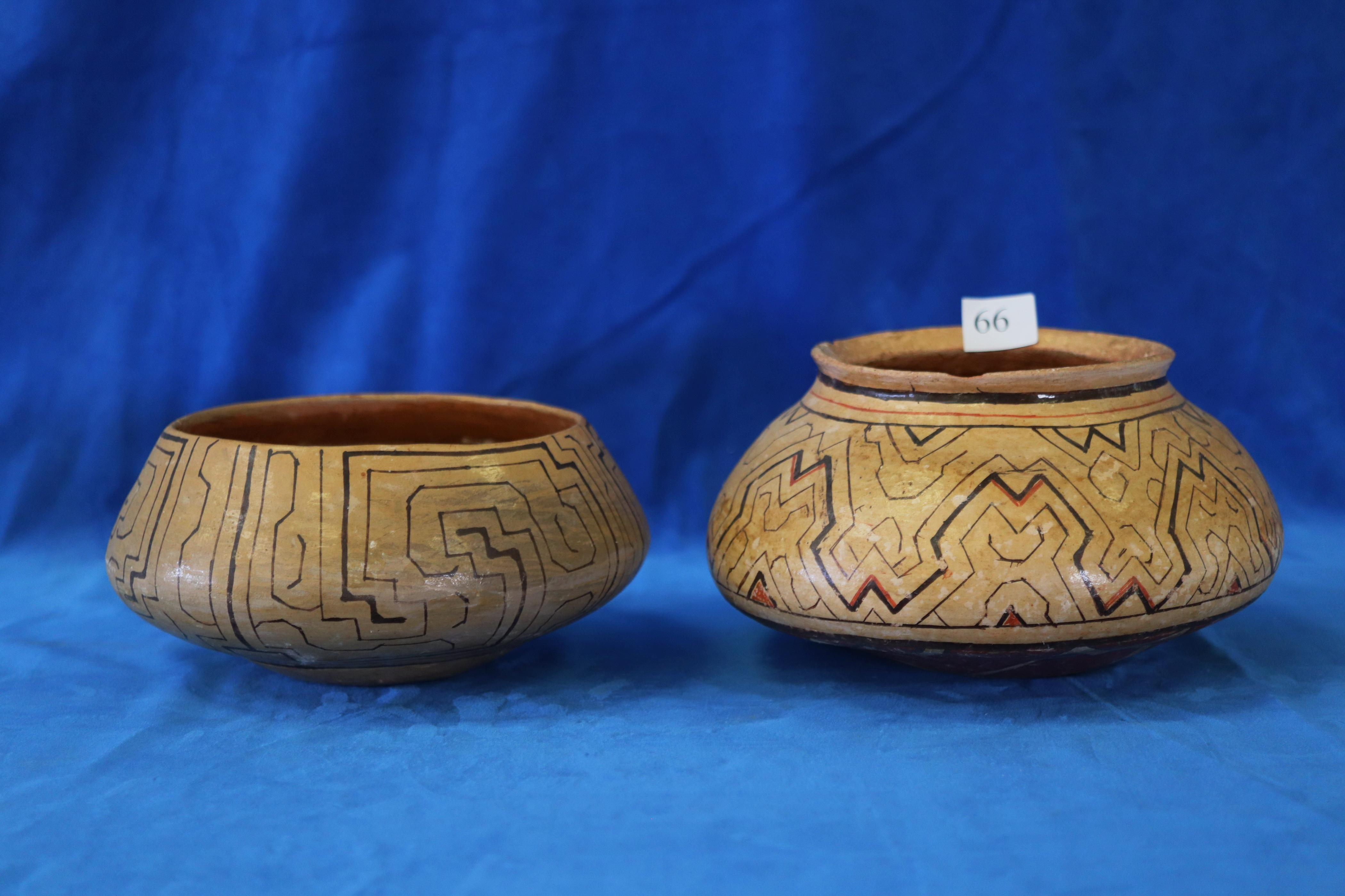 2 X PERUVIAN STYLE POTTERY BOWLS, HAND PAINTED DECORATIONS, A/F