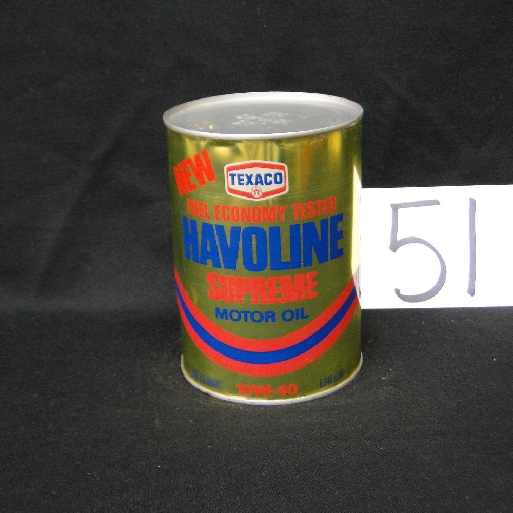 Texaco Havoline Supreme Motor Oil Can