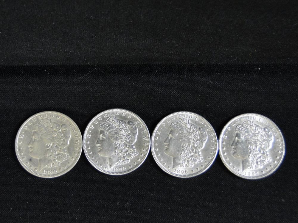 4 Morgan Silver Dollars